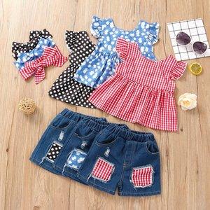 Kids Girls Clothing Sets Children Plaid Shirt Hole Denim Jeans Shorts Suit M3565