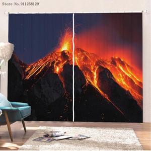Vulkan-Fenster-Vorhänge 3D-Druck-Landschafts-Fenster-Drapes 2-Panels für Schlafzimmervorhänge Home Textil-Behandlungen
