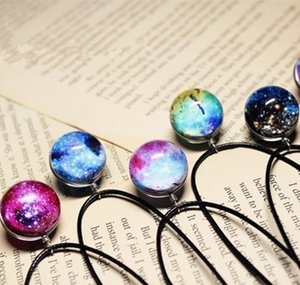 In Stock Vintage Starry Sky Night Moon Face Outer Space Dark Universe Starry Camo Gemstone Pendant Necklaces Gifts