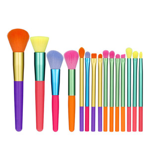 New makeup brush set 15pcs high quality synthetic hair black make up brush tools kit professional makeup brushes.