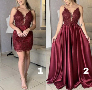 New Arrival Burgundy Lace Prom Dresses Spaghetti Straps V Neck Floor Length Pleats Satin Evening Wear Party Gowns Formal Dress robes
