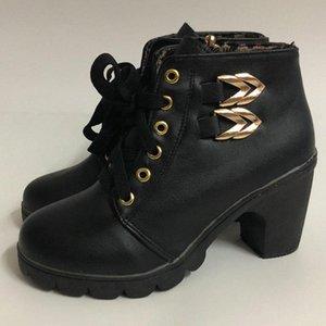 Mujeres encaje botas tobillo cuero lateral cremallera botas tacones altos tacones de punta redondos botines damas tacones de invierno tacones botines D30 63dt #
