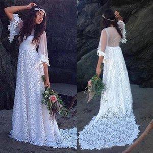 긴 시인 슬리브가있는 2021 Boho 웨딩 드레스 레이스 스윕 기차 보석 목 깎아 지른 맞춤형 국가 결혼식 신부 가운 Vestido de Novia