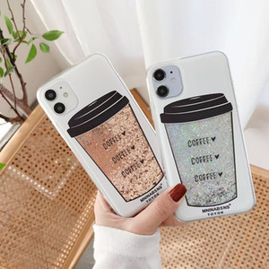 Dynamic Glitter Liquid Quicksand Coffee Cup Back Cover Anti-fall Phon for iPhone 12 Mini 11 Pro XS Max XR 6s 8 Plus SE2020