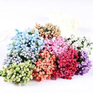 Decorative Flowers & Wreaths 144pcs lot DIY Mulberry Party Artificial Mini Silk Glass Bouquet Stamen Wire Box Wedding Decoration Gift