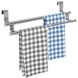 Toalheiro de aço inoxidável Toalha de toalha do banheiro expansível barra dupla parede montada cozinha porta gabinete pendurado prateleira de organizador