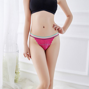 Lace Rainbow Waist band Briefs Panties Breathable lingeries women panties Sexy Underwears Thongs Women Shorts Clothes fashion