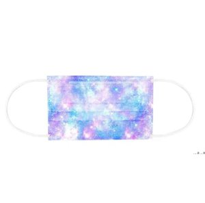 Designer Disposable Face Masks 3 Layers 95% Melt Blown Cloth Dust Air Anti-Pollution Fashion Print Colorful Starry Sky Mask EWF5376