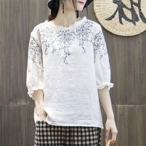 F&je Summer Style Women Tshirt Plus Size Half Sleeve Loose Vintage Embroidery Tee Shirt Femme Cotton Linen Tshirts Big Tops MGZ2 210226