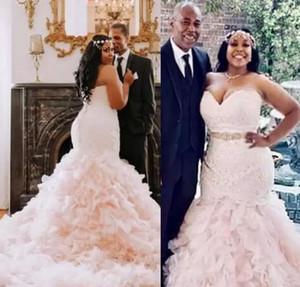 2021 Luxury Mermaid Wedding Dresses Sweetheart Neckline Beaded Crystals Sweep Train Custom Made African Wedding Bridal Gown vestido de novia