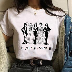 Moda de mujer Halloween bruja impresión fresco de manga corta amigos de terror camiseta tapa