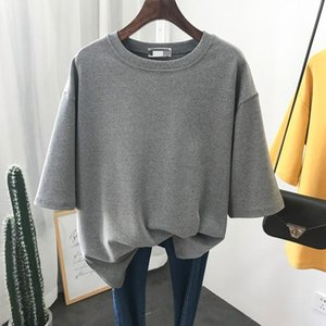 Thick Cotton Tee Shirt Women Short Sleeve 2021 Autumn Winter Simple Basic Tees Top Female Solid Warm T-shirt Gray
