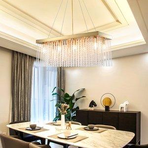 80cm 100cm 120cm 150cm modern rectangle  golden crystal chandelier light for dining room restaurant hotel
