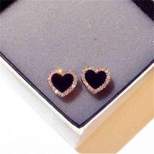 Engagement Enamel Heart Stud Earrings for Women Rose Gold Colour Summer Jewelry Black Earring Wedding Gifts