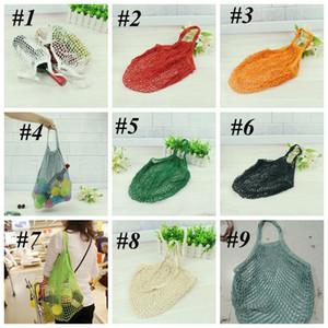 Reusable String Shopping Fruit Vegetables Grocery Bag Shopper Tote Mesh Net Woven Cotton Shoulder Bag Hand Totes Home Storage Bag LLS560