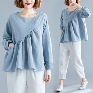 Women's Blouses & Shirts Period And The Cotton Long Sleeve T-shirt Female Loose Fat Mm Irregular Fold Covering Leisure Shirt Jacket