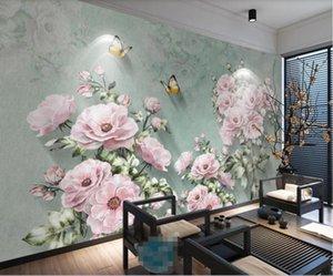Papier peint Mural Custom GRAND MURAL EUROPEL NOSTALGIQUE rétro 3D Fleur de fleur de rose 3D TV