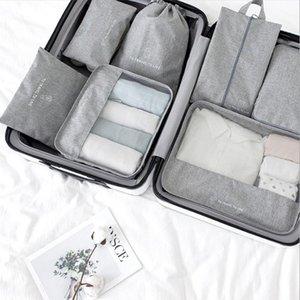 Storage Bags 7 Pcs Set Travel Organizer Tidy Pouches Clothes Shoe Suitcase Packing Set Cases Portable Luggage