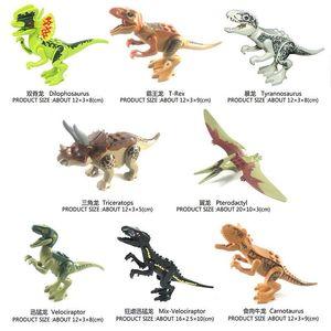 Jurassic dinossauro brinquedo atacado brutal raptor exército compatível blocos de construção mini tijolos Dinossauros brinquedos para crianças meninos