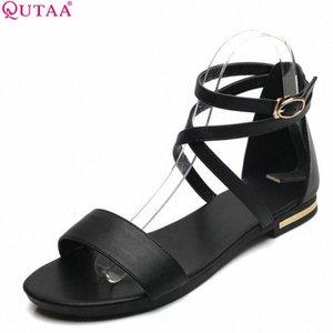 QUTAA 2018 Kadın Sandalet Ayak Bileği Kayışı Tüm Maç İnek Deri + PU Toka Siyah Kadın Ayakkabı Düşük Topuk Sandalet Boyutu 34 43 Rahat Ayakkabılar O9BZ #