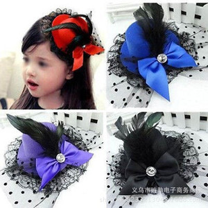 Korean Children's Hairpin Performance Stage Feather Top Hat Head Jazz Dance Bow Hair Ornament