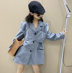 Fashion Big Kids A suit outwear 2021 spring new children Tank tops lapel long sleeve coat 2pcs designer girls outwear 5-16T A5973