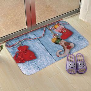 6 Styles Christmas Floor Mats Xmas Element Printed Kitchen Bedroom Entrance Living Room Floor Flannel Mats Non-slip Rug