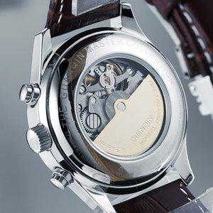 Guanqin Relogio Masculino Автоматический сапфир механические мужские часы водонепроницаемый календарь кожаный наручные часы Отоматик Эркек Саат 0217