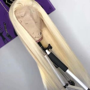 Lace Wigs Front Human Hair 613 Blonde Brazilian Virgin Straight 13x4 Pre Plucked Bleached Knots