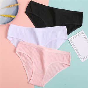 Women's Underpants Soft Cotton Panties Girls Solid Color Briefs Striped Panty Sexy Lingerie Female Underwear M-XL Panty C0225