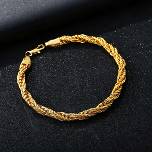 Hot selling jewelry men's twisted rope domineering 18K gold necklace thick crazy Bracelet