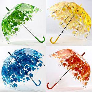 Simanfei 4 Colors Maple Leaf Leaves Cage Umbrella Transparent Rainny Sunny Umbrella Parasol Cute Umbrella Women Cute Clear Apollo GWA8795