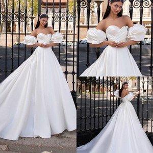 2021 Princess White Satin Wedding Dresses with Removable Puff Sleeves Sweetheart Ruched Elegant Wedding Gowns Custom Made robes de mariée