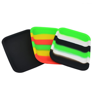 Colored Silicone Tobacco Rolling Tray 20cm* 15cm*2cm Handroller Heat Resistant Smoking Storage Tray Proof Dab Rig