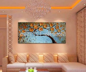 Hand painted Abstract palette, tree and flower oil painting on canvas, wall image of living room, bedroom and home decoration
