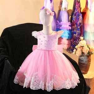Baby Girl Dress Summer Girls Dresses Lace Large Bowknot 1st Birthday Dress For Baby Girl Princess Dress Kids Clothing B3939