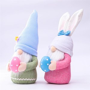 Easter Gnome Boys Girls Faceless Bunny Dwarf Doll Plush Rabbit Dwarf Easter Holiday Party Table Decoration HWA3610