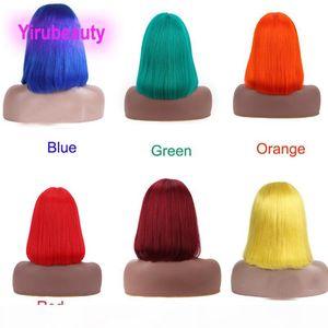 Parrucche di Brasiliana Brasiliana dei capelli della Vergine di Brasiliana Le parrucche dritte rosse rosa rosa blu viola bob parrucca 100% capelli umani