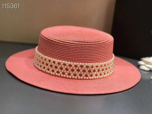 Pink Female Wide Brim Beach Summer Sun Hat Cap Pearls Casual Vacation Panama Straw Hast