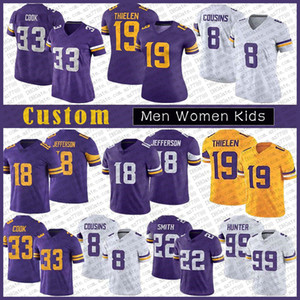 19 Adam Thielen Homens Custom Mulheres Miúdos Futebol Jersey 33 Dalvin Cook 18 Justin Jefferson 22 Harrison Smith 8 Kirk Cousins 99 Danielle Hunter