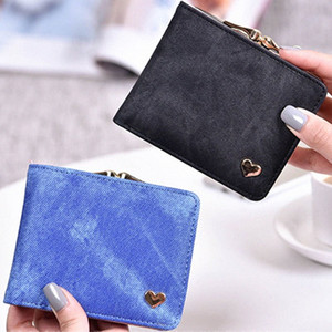 2019 Newly Fashion Multicolor Imitation Denim Short Wallet Two Fold Small Fresh Personality Coin Purse H66 Z94X#