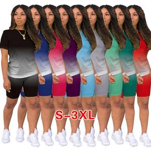 Donne Designer Designer Abbigliamento 2021 Gradiente Abiti da due pezzi Abiti da jogging Suit Ladies New Fashion Casual Shorts Pants DHL 9 Colori 836