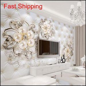 3D Fantasy European Style Stereo Relief Pearl Flowers Tv Backdrop Wall Mural Hotel Living Room Luxury Photo Wallpaper Mdh3G N3Kry