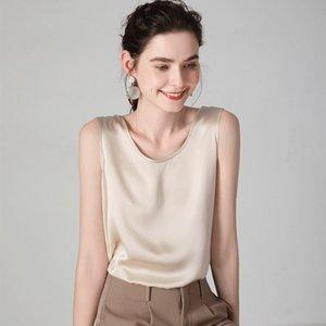 SUYADEREAM Tanks de soie pour femmes 100% véritable satin Satin Satin Satin Shirt sans manches Solid Vest d'été 210306
