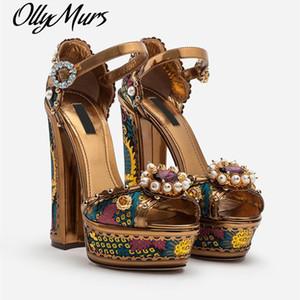 Ollymurs Yeni Tasarımcı Yüksek Topuk Platformu Sandalet Inci Çiçek Ayakkabı Kadınlar Kristal Süslenmiş Ayak Bileği Kayışı Ayakkabı Kadınlar