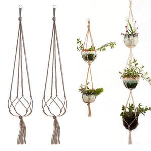 3 Layers With Iron hoop Gardening Green Plant Hanger Flower Pot Net Bag Hemp Rope Hanging Basket Indoor Outdoor Hook Decoration LLA411