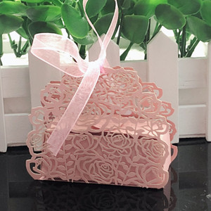 10pcs Rose Flower Laser Cut Hollow Carriage Gift Box Candy Boxes With Ribbon Baby Shower Wedding Decoration Party Favor Supplies
