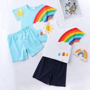kids clothes girls boys outfits children Rainbow sun print Tops+shorts 2pcs set 2021 summer fashion Boutique baby Clothing Sets Z2453