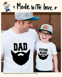 Idea Dad future beard father-child outfit a family pure cotton half sleeve shirt summer beach short sleeve T-shirt family