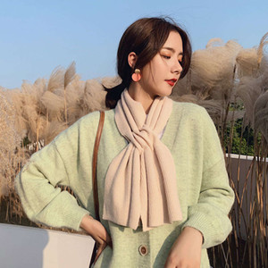 New cross solid color long student scarf for men and women